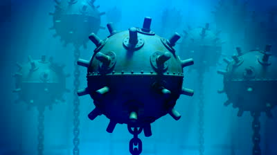 naval-mine-self-contained-explosive-device-floating-in-the-sea-to-destroy-ships-or-submarines